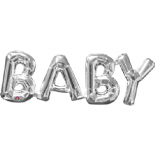 "Silver BABY Phrase Mini-Foil Balloon (9"" Air) 1pc"